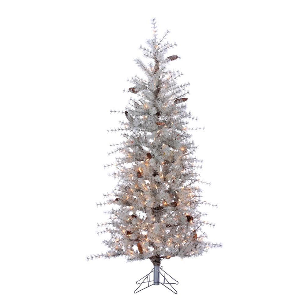 Sterling 6 Ft Indoor Pre Lit Frosted Slim Hard Needle Artificial Christmas Tree With 300 Ul Clear Lights And Pinecones White Artificial Christmas Tree Artificial Christmas Tree Stand Christmas Tree