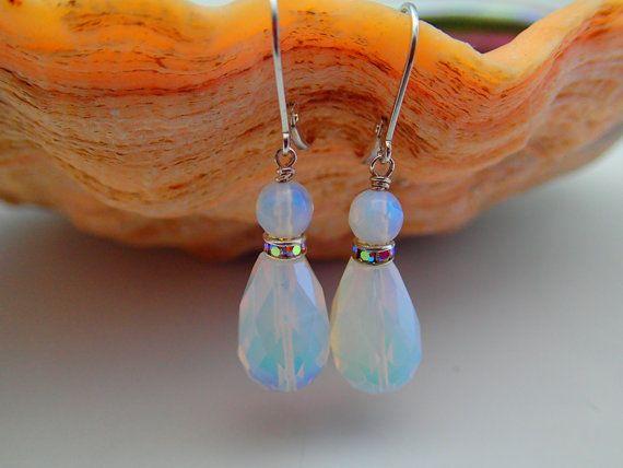 White Flourite Stone Earrings by BBeadCreations on Etsy, $30.00