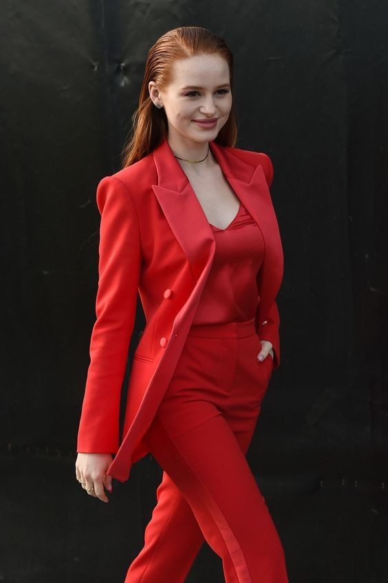 Madelaine Petsch red suit