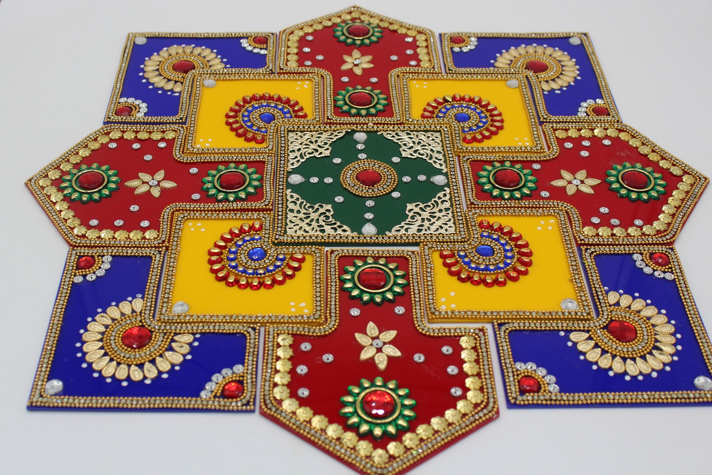 Acrylic Rangoli Home Decor Diwali Floor Decorations Modak Rangoli Acrylic Rangoli Thali Decoration Ideas Diwali Decorations