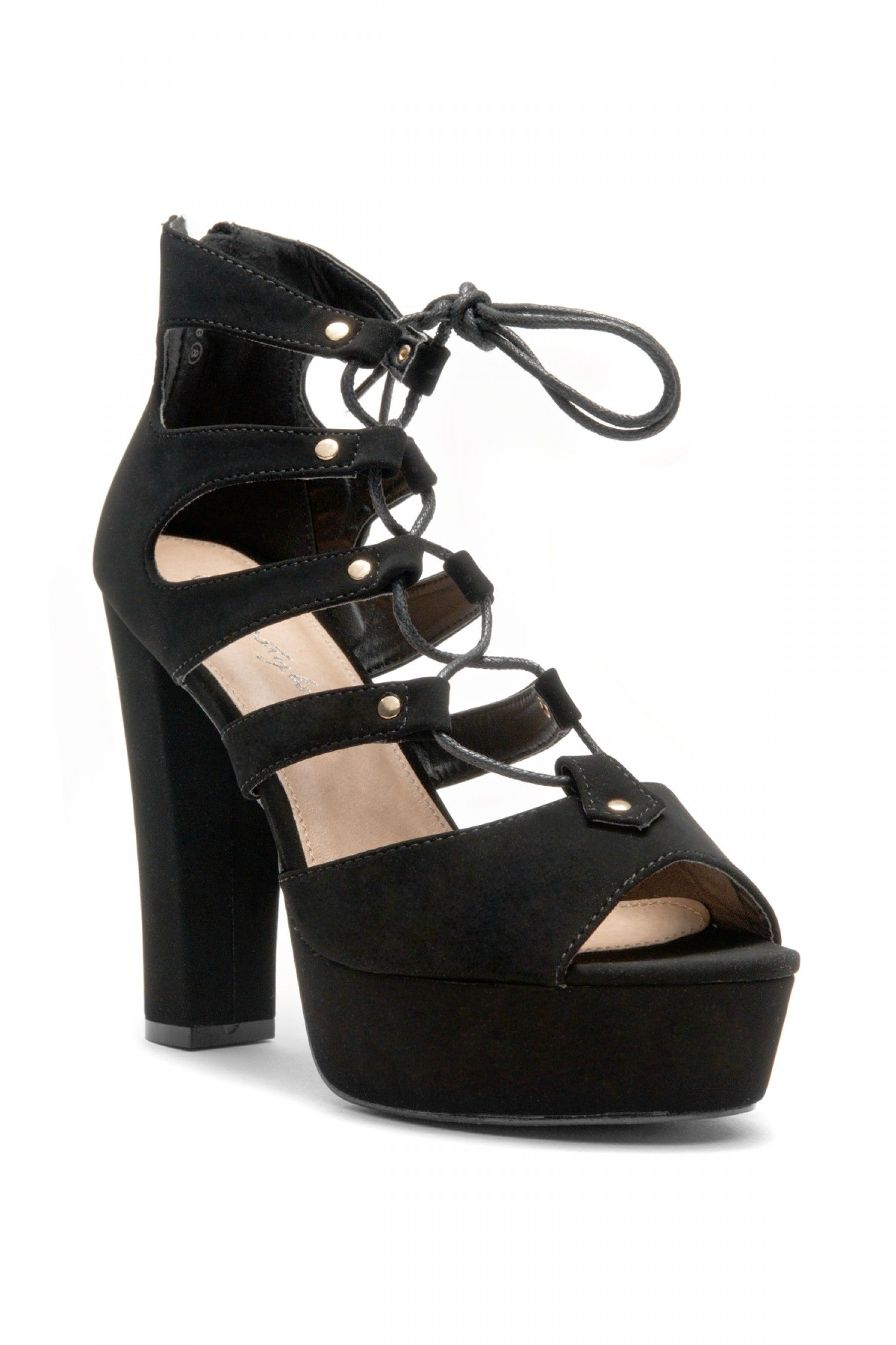 1dfb1f6a01 HerStyle Calliiee Lace up Platform Chunky Heel (Black) | Shoeland ...