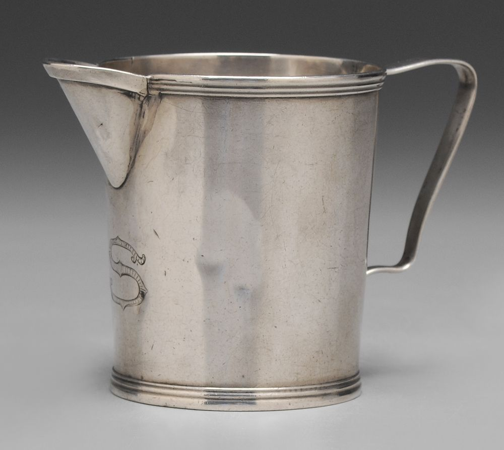 "Kentucky Coin Silver Pitcher  American, 19th century, tapering sides, reed rims, marks for Warham P. Loomis (Frankfort, Kentucky, working 1809-1870), monogram ""S"" (Robert Scott), 4.99 oz.T., 3-1/2 x 5-1/4 x 3 in."