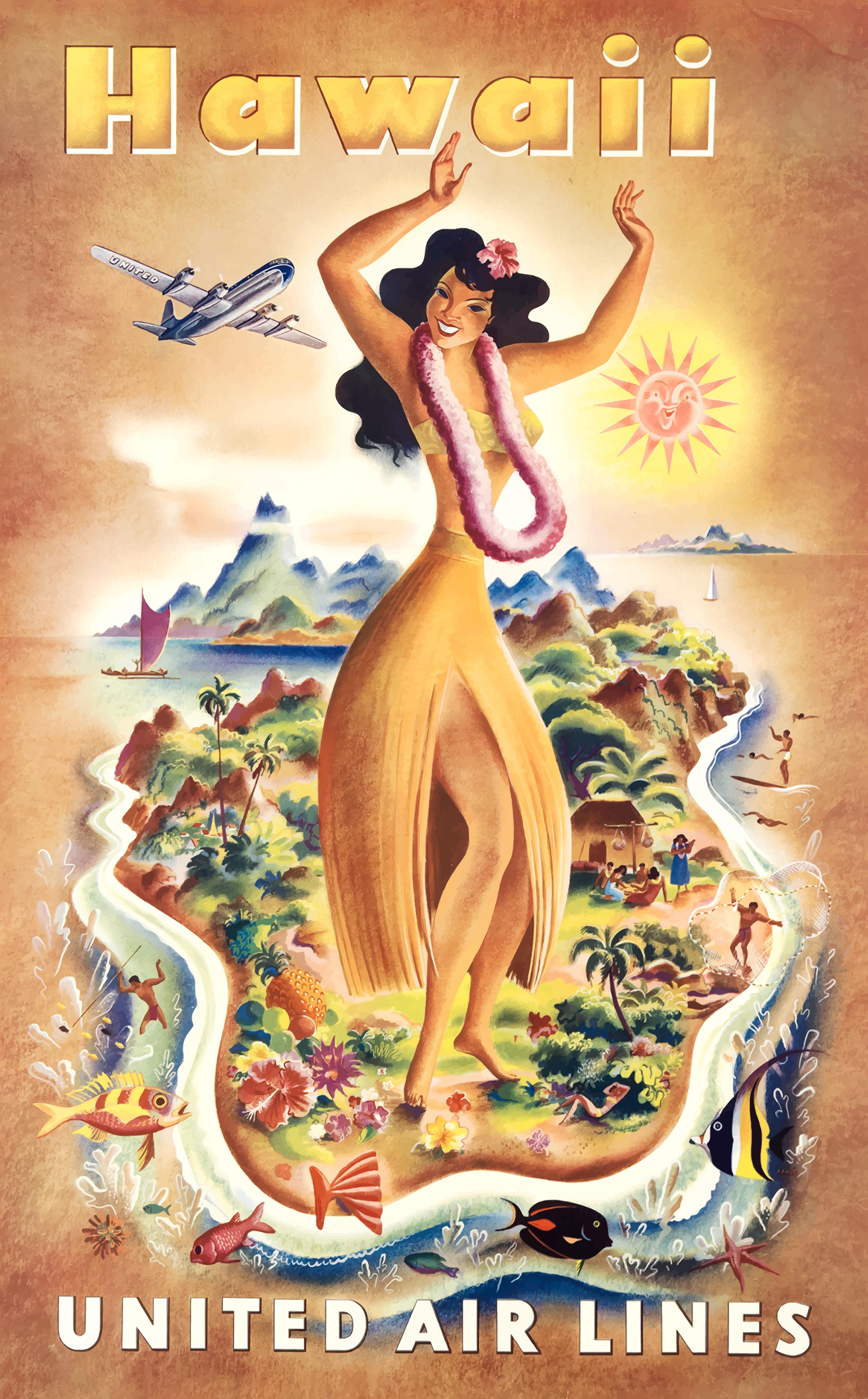 18x24 Visit  1940s Veracruz Mexico Dancing Vintage Style Travel Poster