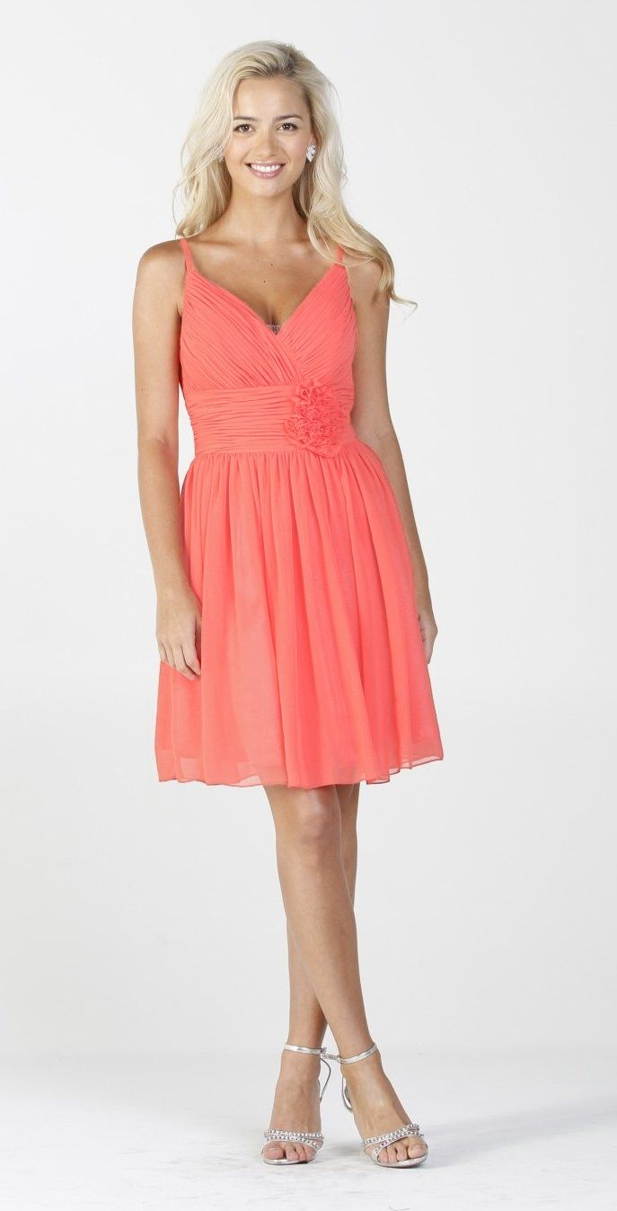 Chiffon Coral Bridesmaid Dress Ruched Top Flower Waist Knee Length ...
