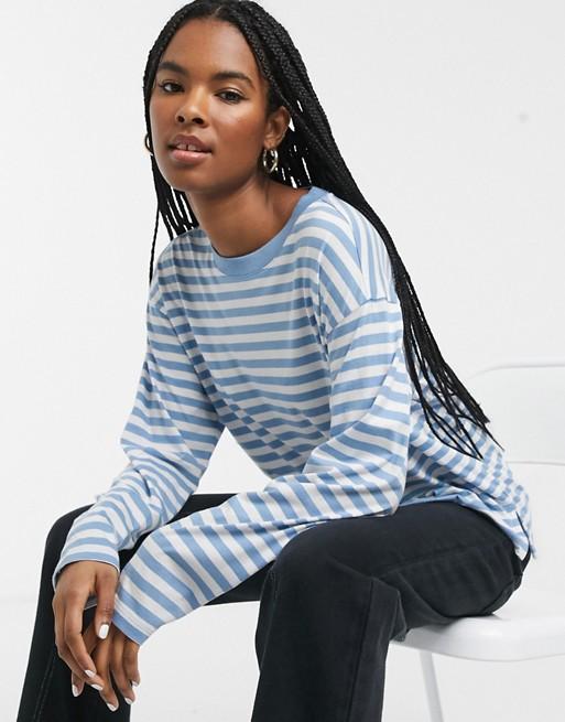 Monki striped long sleeve top in blue and white | ASOS #stripedlongsleevetops