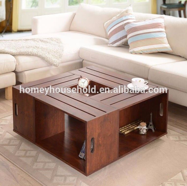 Factory Direct Sale Square Coffee Table Crate Open Shelf Storage