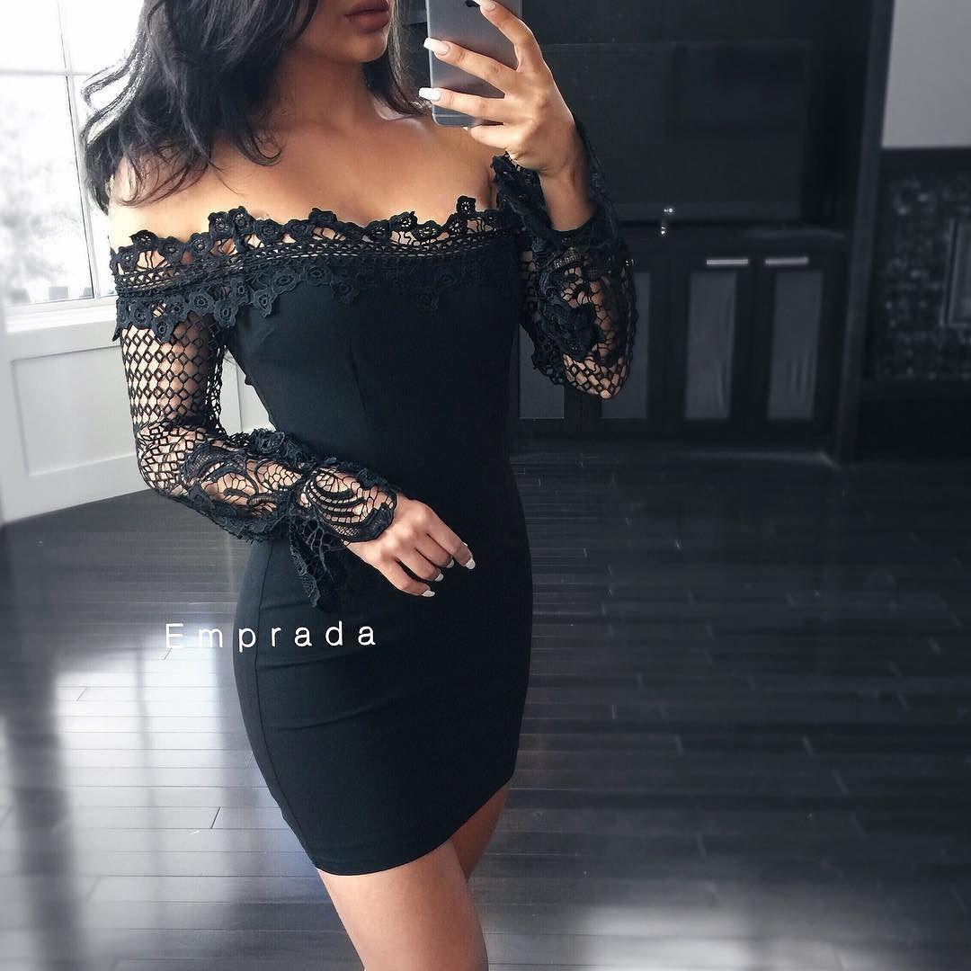 Lace dress looks  Michaela Black Crochet Lace Sleeve Dress  Only  mediums left