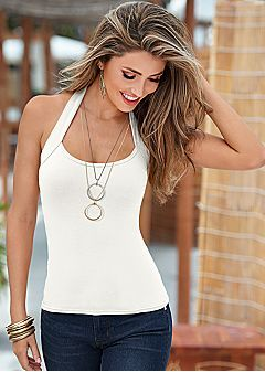 I like the holster neck/shoulder straps  Women's Tops - Peplum, Off Shoulder, and Tank by VENUS
