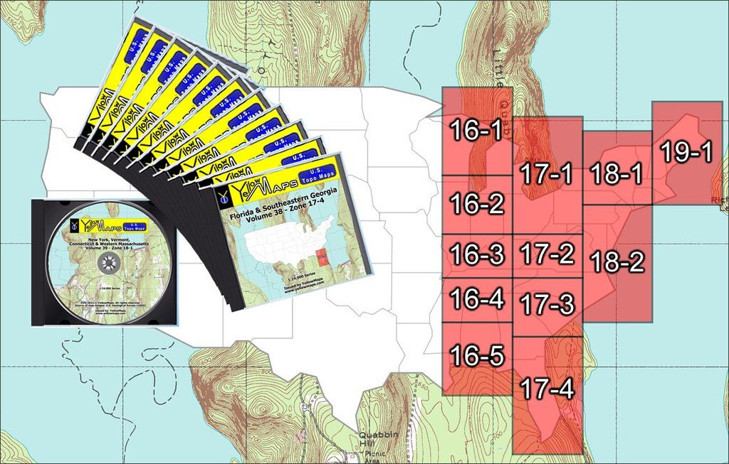 YellowMaps US Topo Maps Eastern USA DVD Collection - Us topo maps