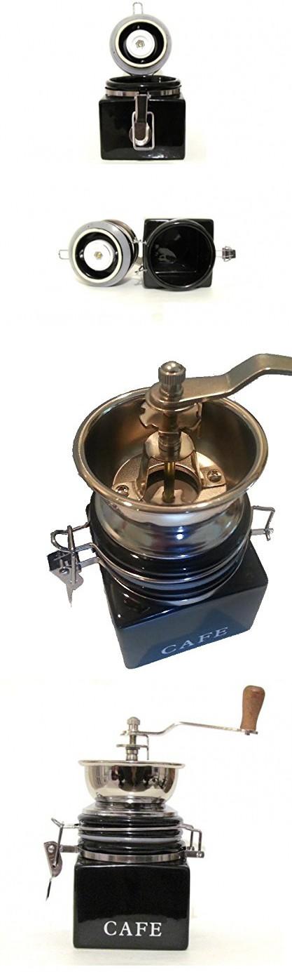 """CoffeeWerks """"Vintage Cafe"""" Manual Ceramic Burr Coffee Grinder (Black)"""