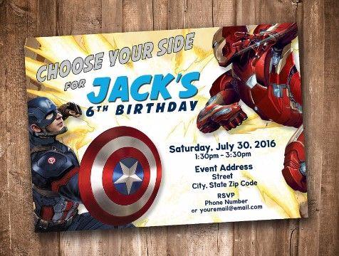 Invitaciones De Capitan America Para Editar Invitaciones