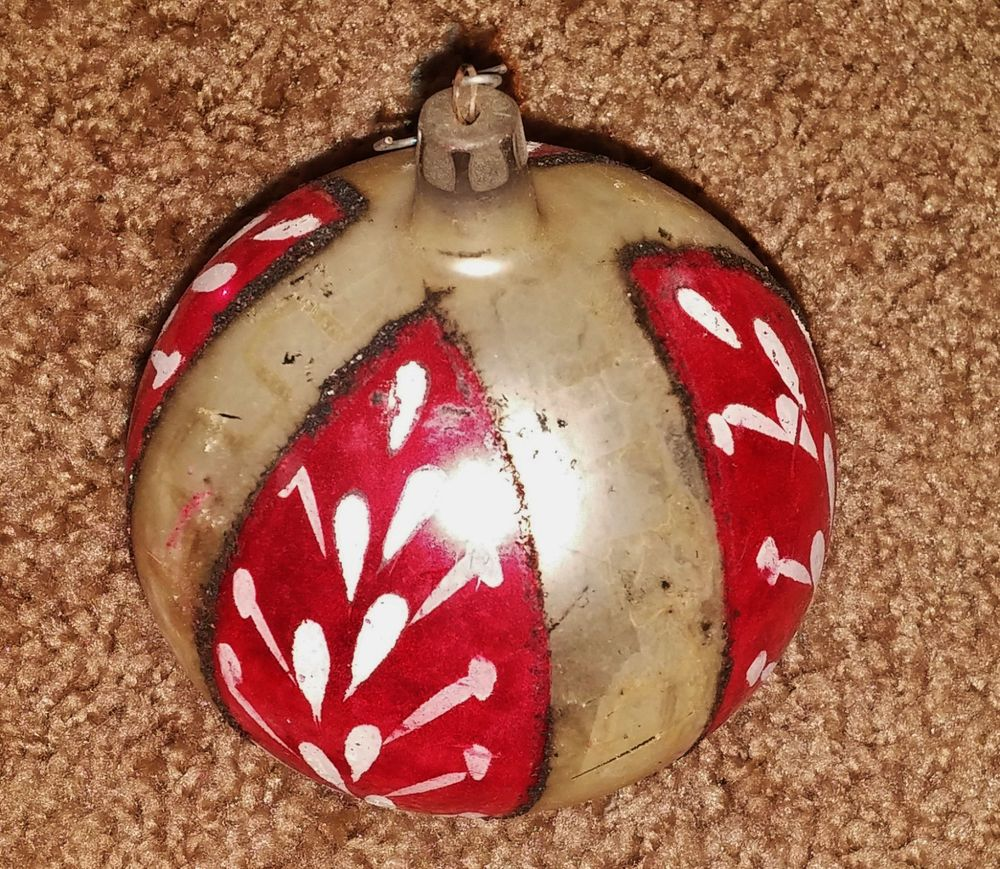 large vintage hand painted christmas bulb ornament poland 3 wide