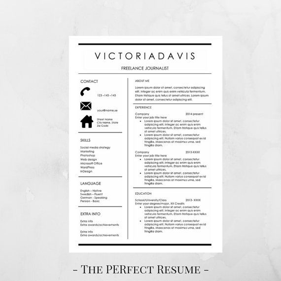 Resume Template   Pages  Resume For Word  Instant Download