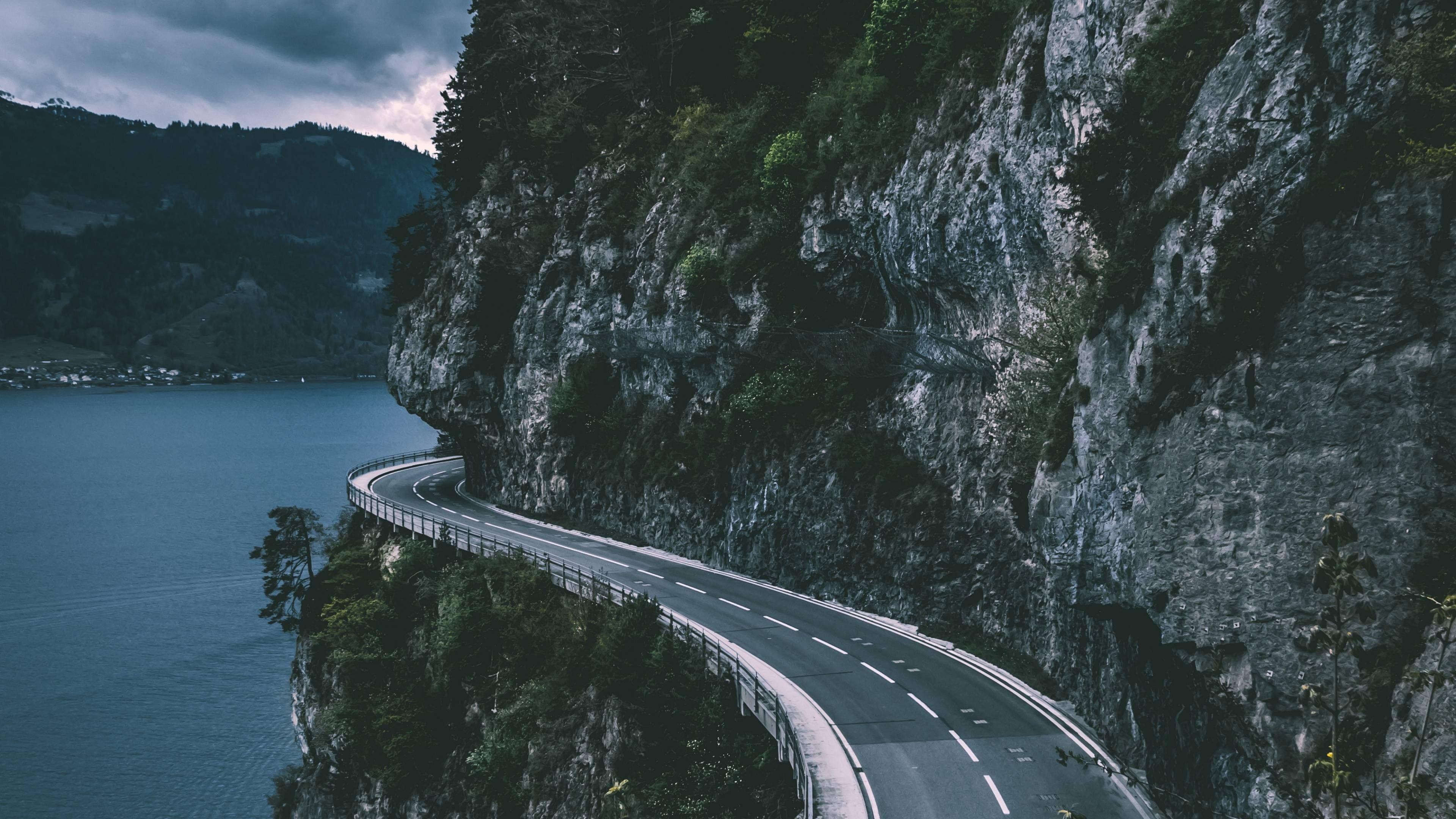 Mountain Road 4k Wallpaper Road Desktop Wallpapers Backgrounds Nature Hd wallpaper mountain road aerial view