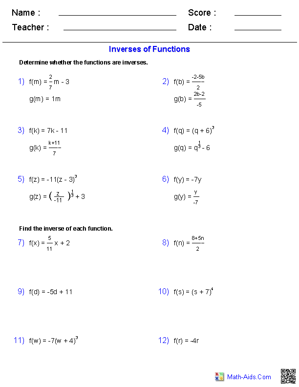 Inverse Functions and Logarithms Worksheets | Math-Aids.Com ...