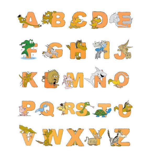 Cartoon Animals And Alphabet Vector Vector Animal