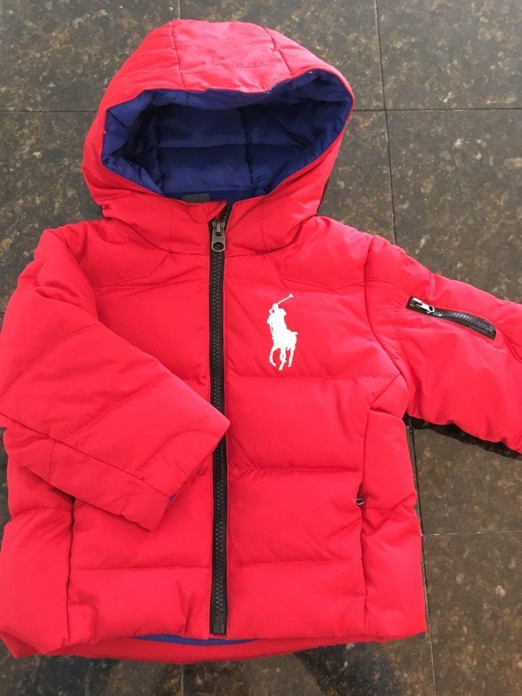 9b8fa92a107b Infant toddler boy girl Ralph Lauren Polo red winter jacket coat 24 ...