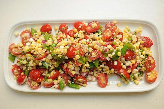 Easy, Cheap- Summer Salad: corn, cherry tomatoes, red onion, sugar snap peas, herbs, salt and balsamic.