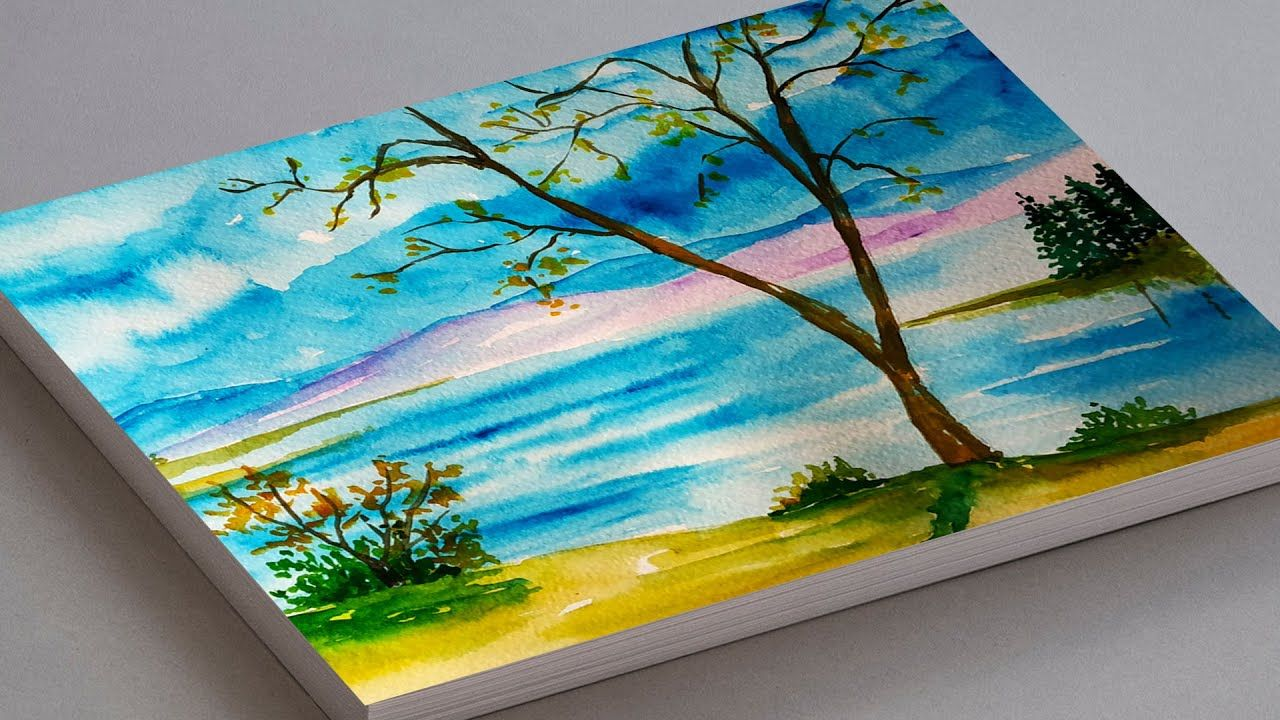 Watercolor Painting For Beginners Autumn Landscape Earth Day Drawing Watercolor Scenery Watercolor Paintings Landscape Painting Tutorial