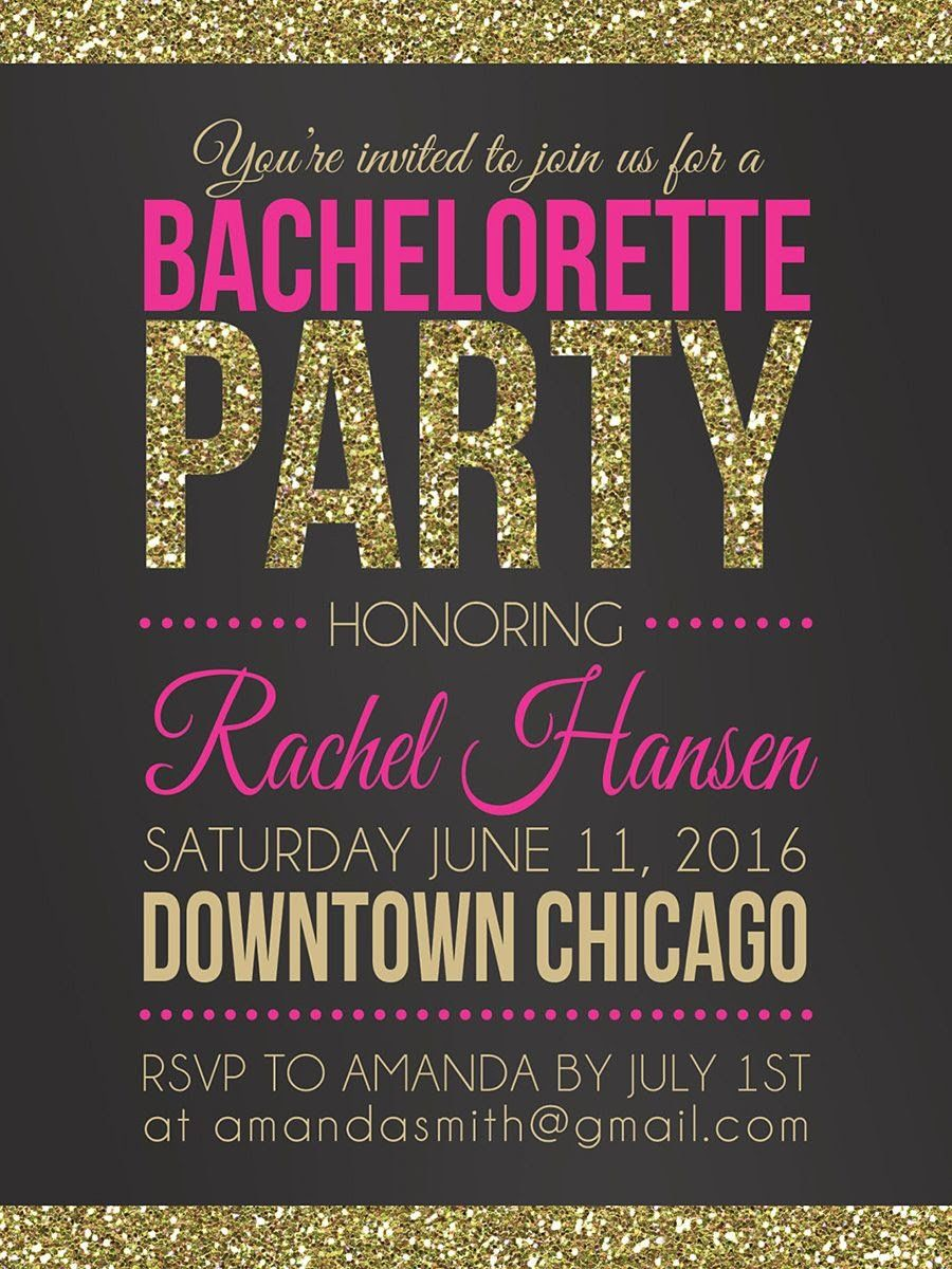 Pink And Gold Bachelorette Party Printable Invitation Template