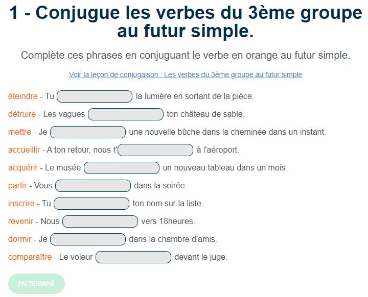 Conjugue Les Verbes Du 3eme Groupe Au Futur Simple Futur Simple Exercice Futur Exercices Conjugaison