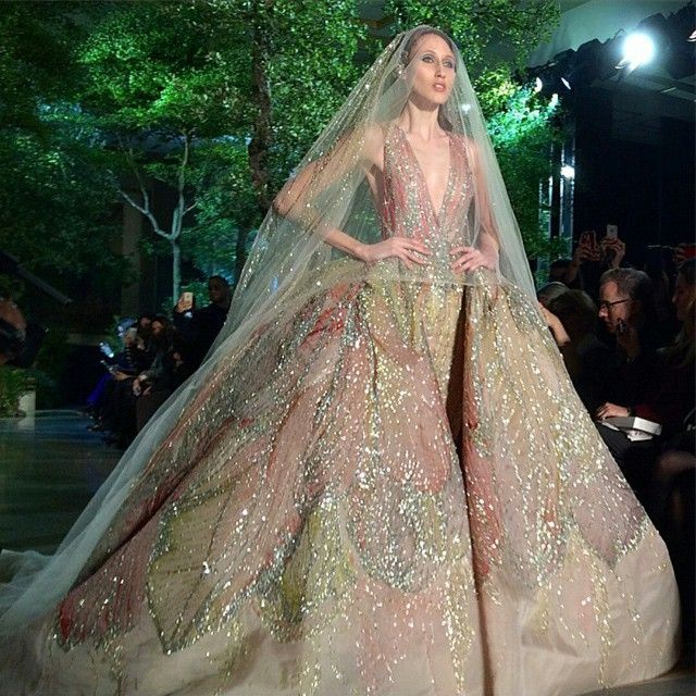 ElieSaab 's colorful bride. Who said the wedding dress should be white?