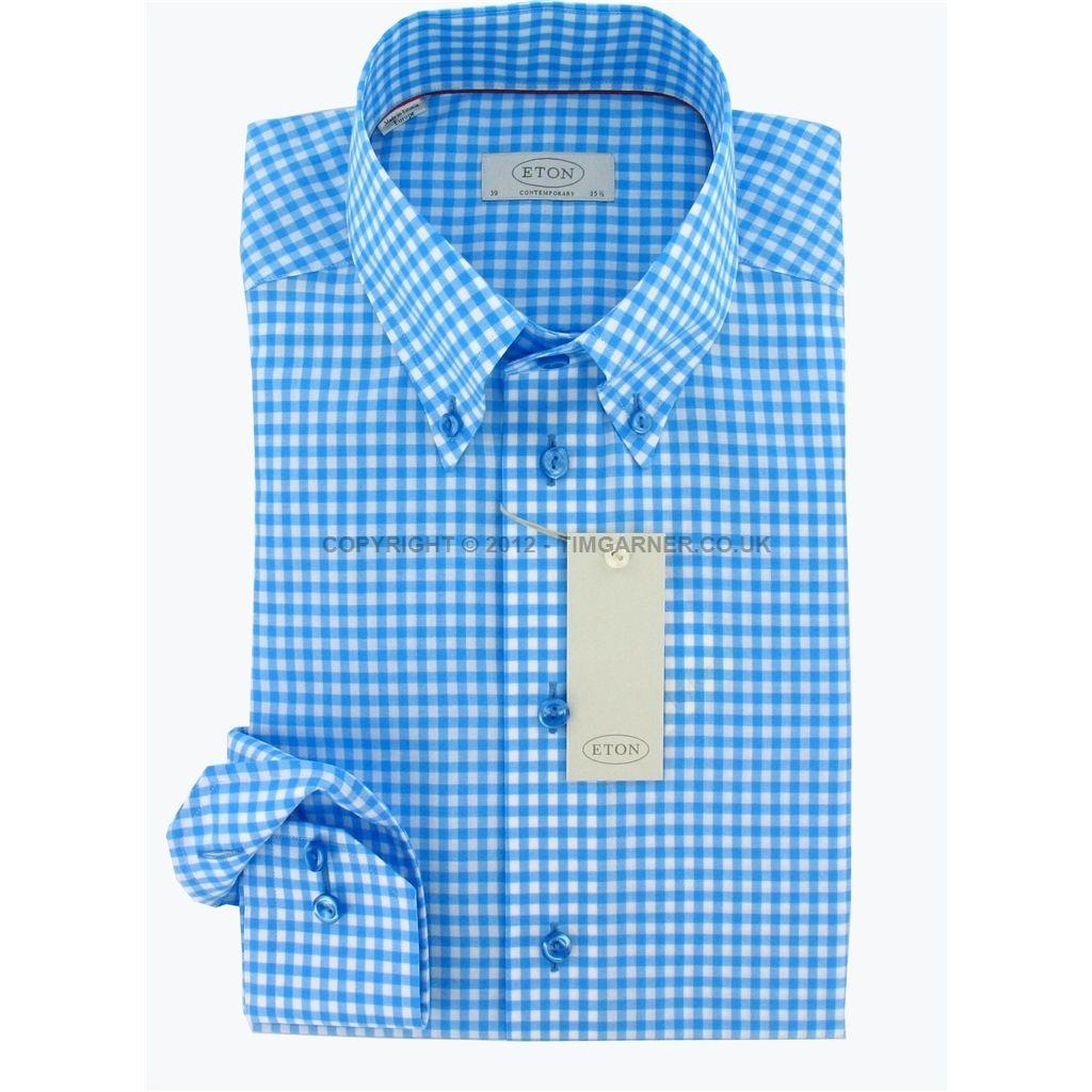 Eton - Eton Shirt - Blue and White Gingham Check - 15.5 ONLY
