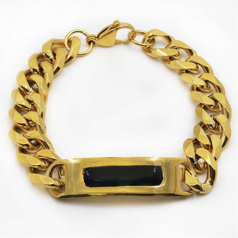 Gold Plated Bracelet Items Trendy Wide Unique Cuban Curb Casting Link Chain Bracelet Men Cuff Bracelet Jewelry Pulsera Hombre