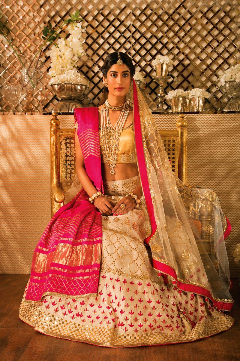 Lehenga saree for wedding bride white and pink bridal lehenga with gold blouse  bridal lehenga