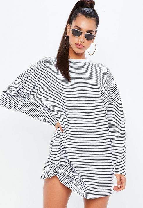 Missguided - White Oversized Stripe Sweatshirt Dress 5