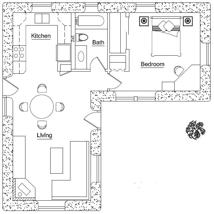 L Shaped House Plans Planos Casa Dos Dormitorios Planos De Casas Pequenas Planos De Casas Minimalistas