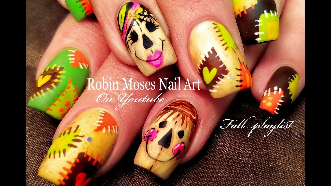 Cute Scarecrow Nails Diy Fall Patchwork Nail Art Design Tutorial Thanksgiving Nail Art Nail Art Designs Fall Nail Art