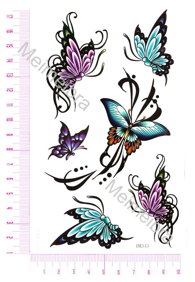 Chinese Symbol Tattoos Temporary Tattoos Butterfly Butterfly