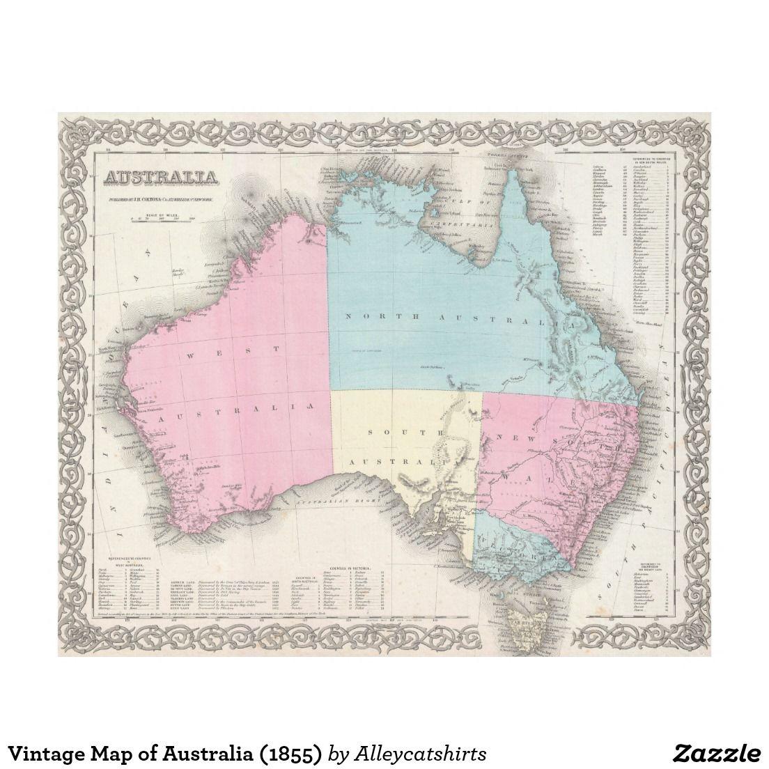 Vintage Map of Australia (1855) Fleece Blanket Zazzle