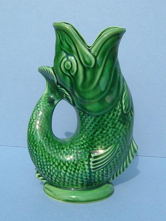 1950s dartmouth pottery green gurgling jug fish jug made in england jug fishing flea market - Gurgling water pitcher ...