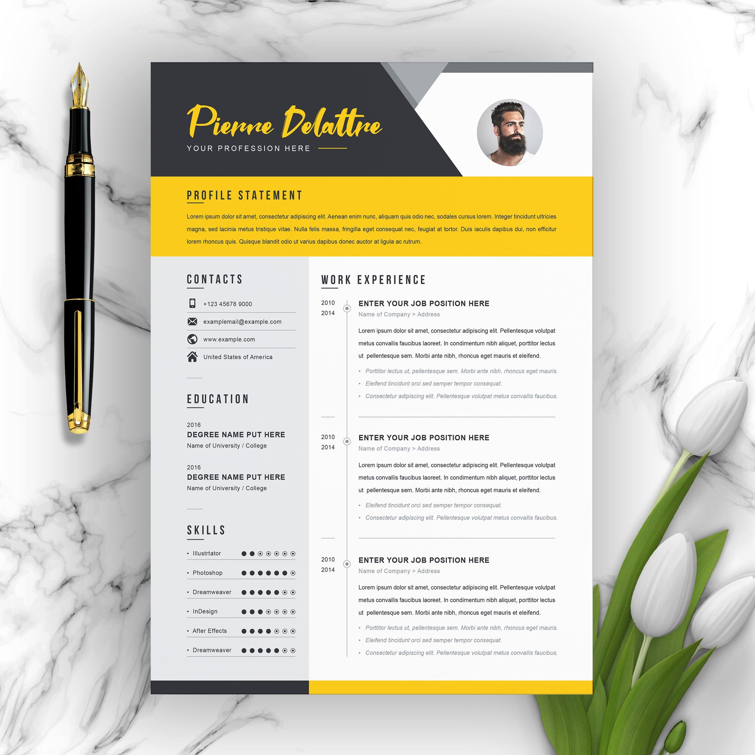 Creative modern resume v template by resumeinventor on
