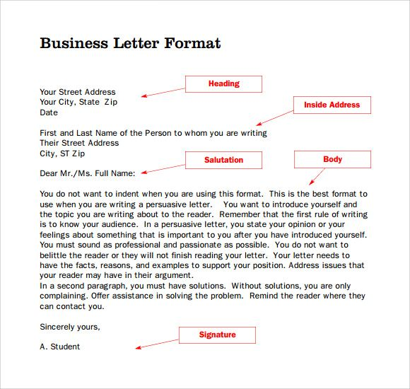 Sample Format For Business Letter Free Documents Pdf Word Quiz