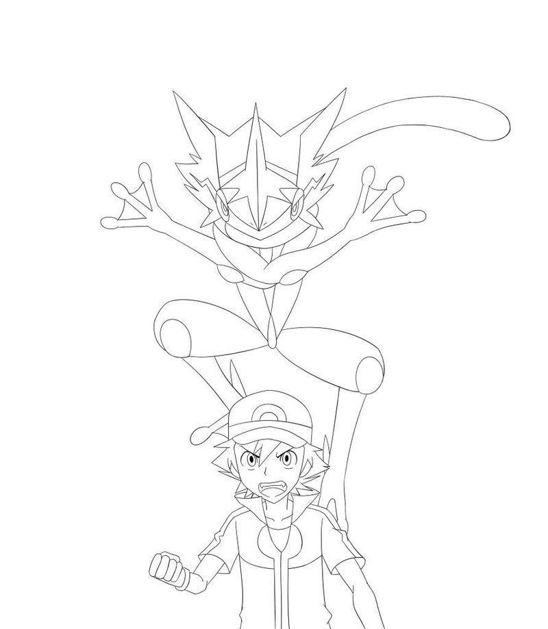Ash And Ash Greninja By Mahyohan Dragon Coloring Page Coloring Pages Dog Coloring Page