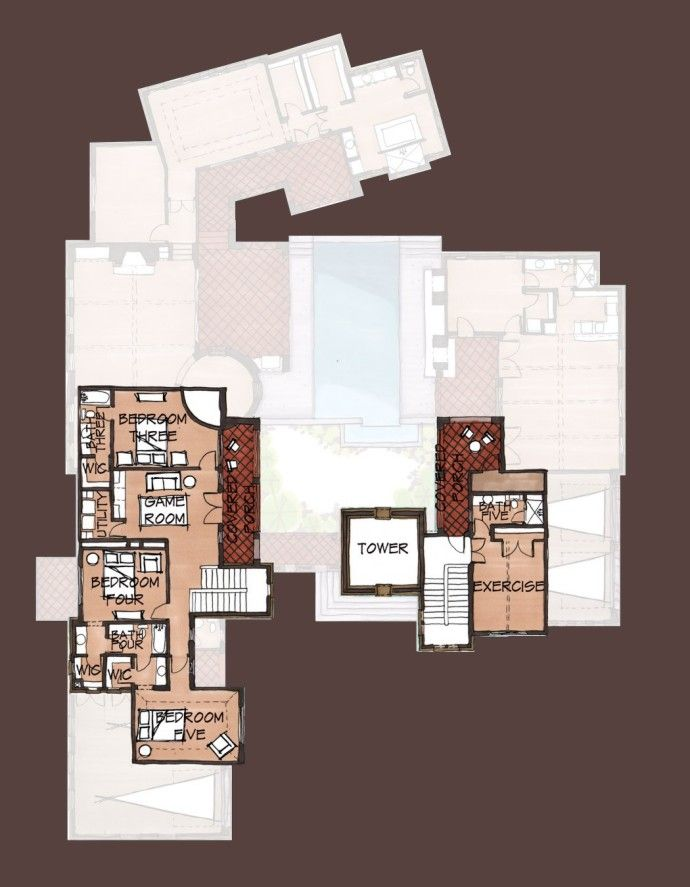 12805 Hacienda Ridge Courtyard House Plans Floor Plans Home Building Design