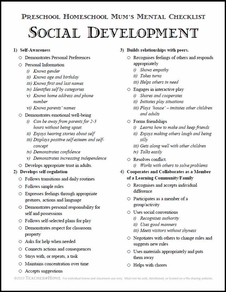 Preschool Homeschool  Social Development Checklist  Pdf Download