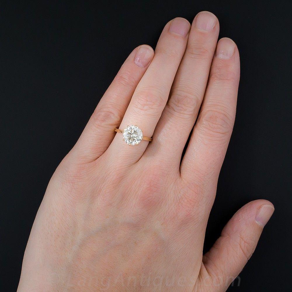 3.37 Carat Diamond Rose Gold Solitaire - GIA L VS1 - Engagement ...