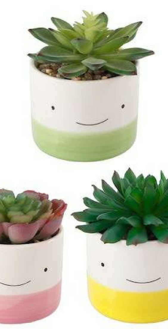 These Cute Happy Face Succulent Planters Come As A Trio Of Three They Come With A Fake Succulent But Succulent Planter Faux Succulents Succulent Planter Diy
