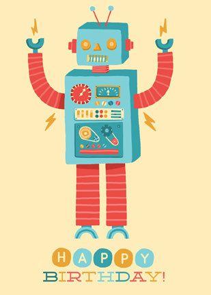 ┌iiiii┐                                                              Happy Birthday Robot Card.