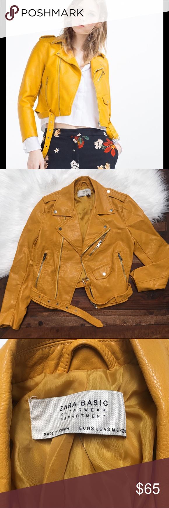 New Zara faux yellow moto jacket Jackets, Zara, Moto jacket