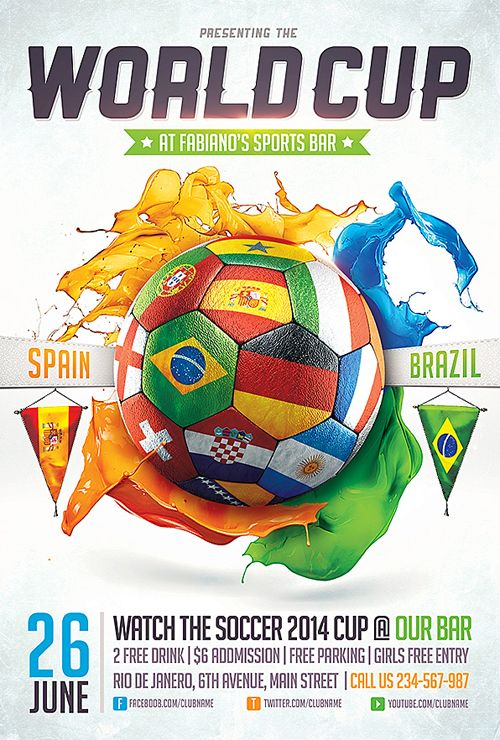 Brazil 2014 FIFA World Cup Poster 12x18 Style C Sede Cuiaba Brasil 2014 Soccer Gift Idea By