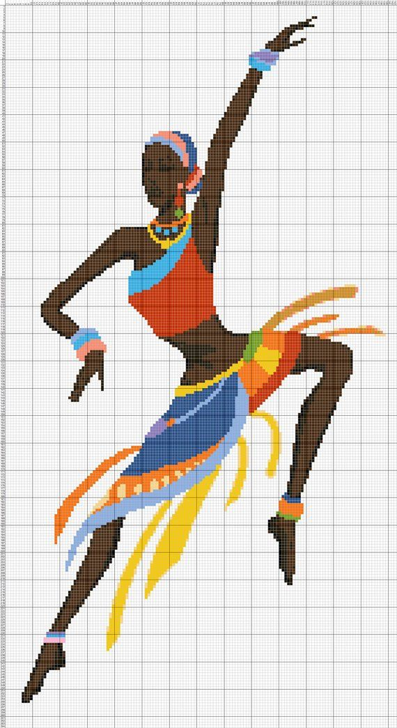 Buy 1 and Get 1 Free Coupon BOGO18! African Dance Art Cross Stitch Pattern Counted Cross Stitch Chart Pdf Format Instant Download 143264-118