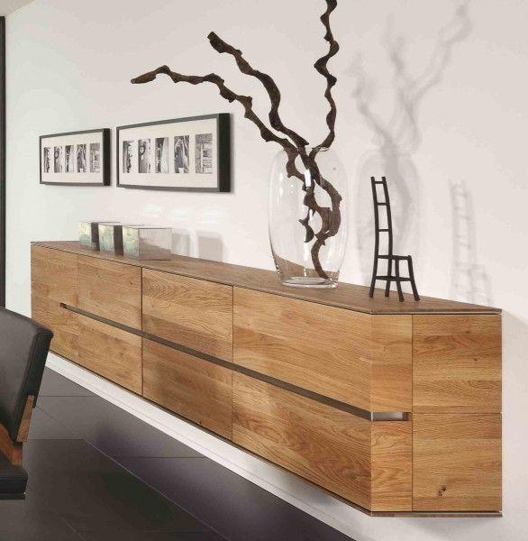 Hangeboard Sideboard Hangeschrank Wohnzimmer Asteiche Eiche Massiv Geolt Bianco Decoration Sejour Armoire Murale Mobilier De Salon