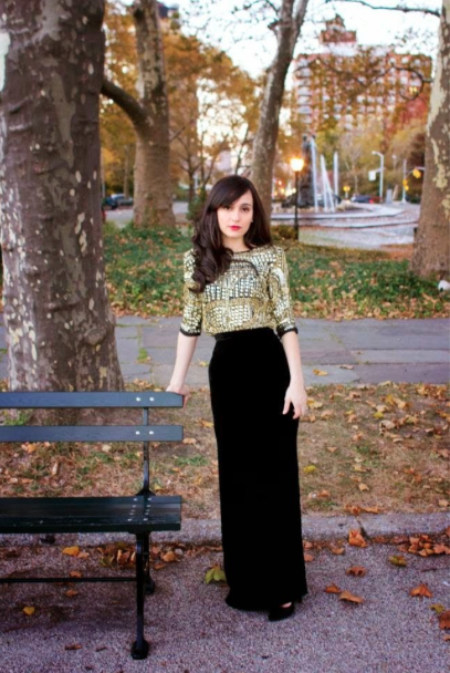 Turn a plain black maxi skirt into a semi-formal outfit with a ...