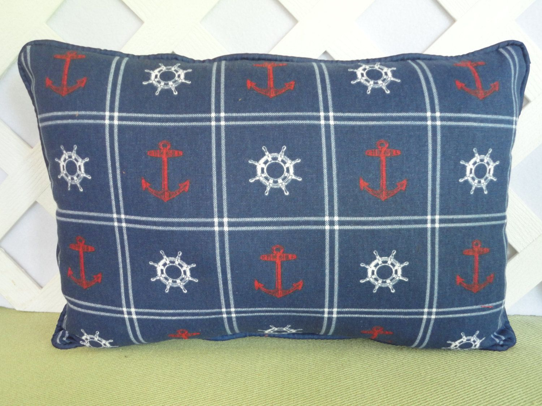 Anchors Pillow Nautical Pillow Navy Blue Pillow Navy Red White