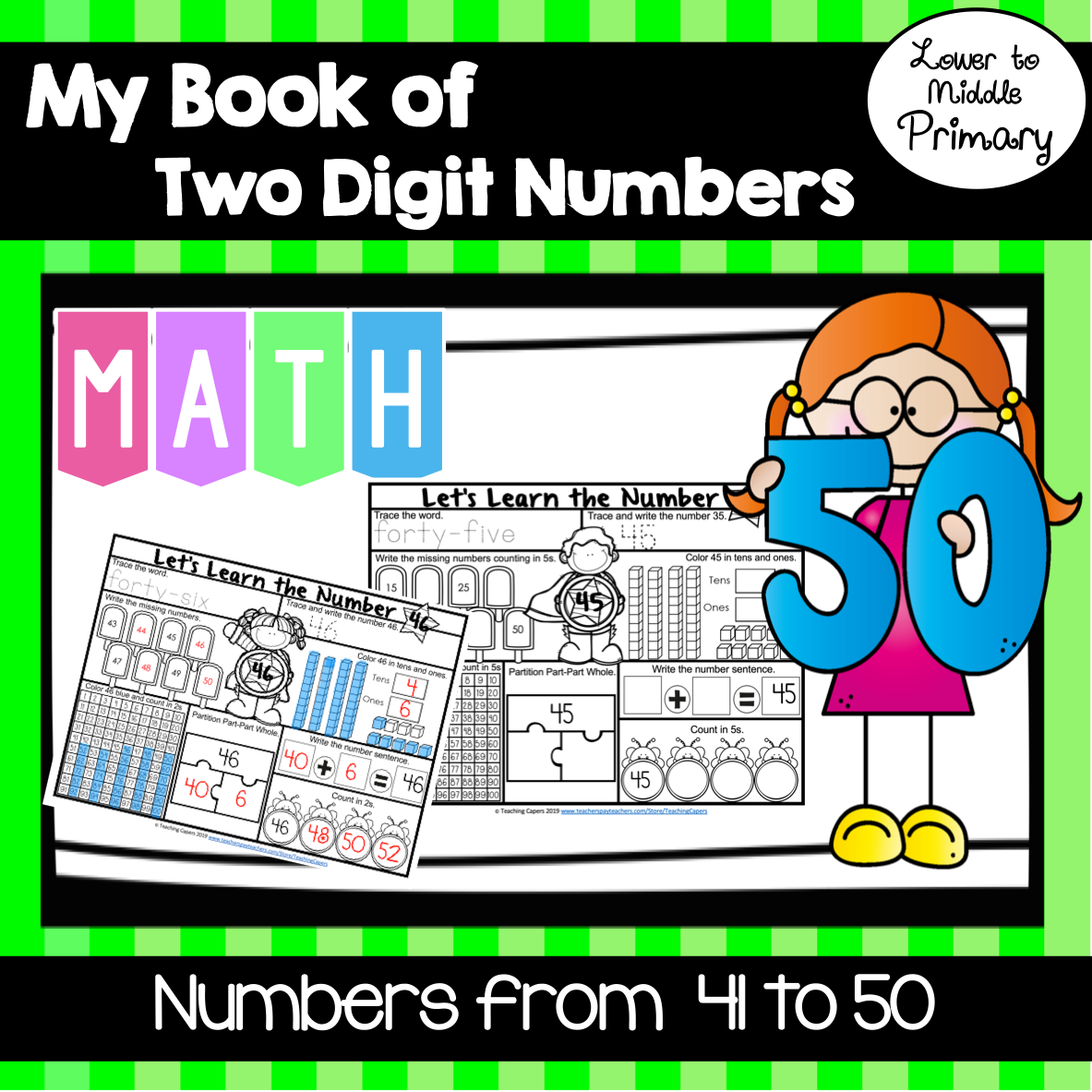 Interactive Two Digit Numbers 41 To 50 Worksheets